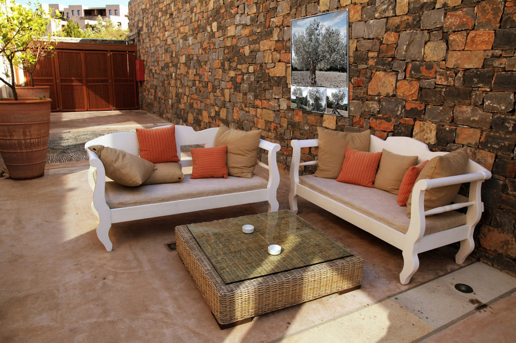 mediterranean patio with white outdoor furniture(Greece)